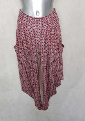 Pantalon femme sarouel rouge motif minimaliste