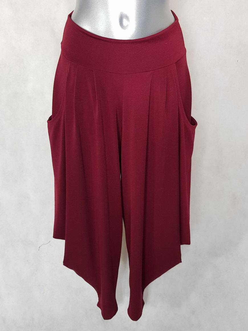 pantalon-sarouel-femme-chic-fluide-uni-bordeaux