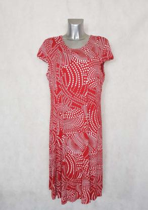 Robe femme ronde évasée rouge à pois col rond et manches courtes