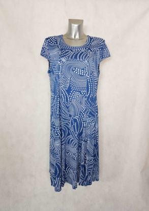 Robe femme ronde évasée bleu jeans à pois col rond et manches courtes