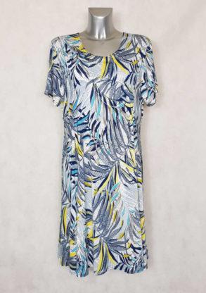 Robe femme ronde fluide évasée motif tropical col rond et manches courtes