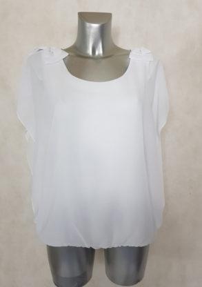Tunique femme blousante blanc 2 en1 avec nœud et manches bénitier