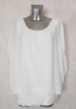 Tunique blanche 2 en 1 habillée femme ronde manches courtes bénitier