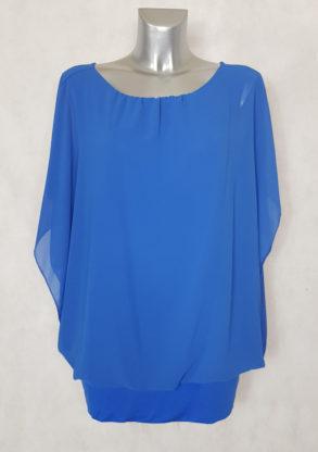 Tunique femme ronde blousante bleu 2 en 1 col rond élastiqué et manches courtes bénitier