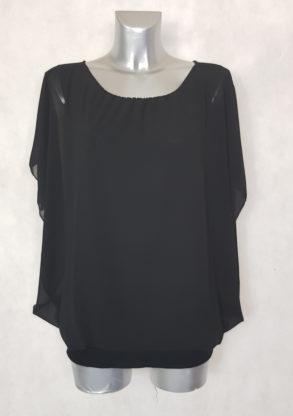 Tunique soirée en voile noir femme grande taille manches courtes bénitier