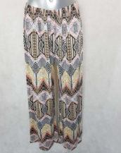 Pantalon femme large fluide rose motifs aztec taille élastiquée