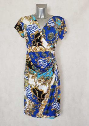 Robe femme fluide drapée bleu roi motif baroque col effet cache coeur