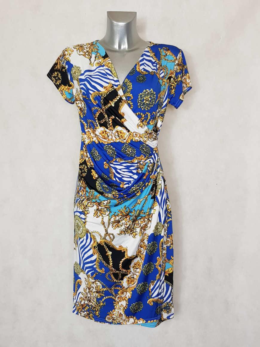 robe-femme-fluide-drapee-bleu-roi-motif-baroque