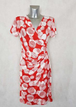 Robe femme fluide drapée rouge motif à pois col effet cache cœur