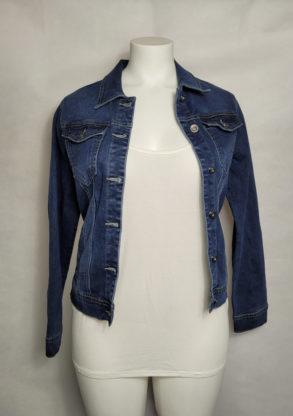 Veste femme courte ajustée en jeans bleu délavé