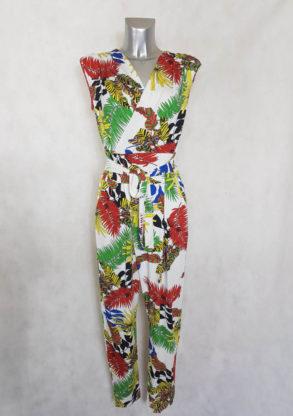 Combipantalon femme blanc motif feuille tropicale
