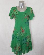 Robe femme évasée verte en coton floral manches à bretelles