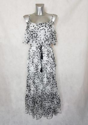 Robe femme longue voile à motif noir et blanc manches à bretelles