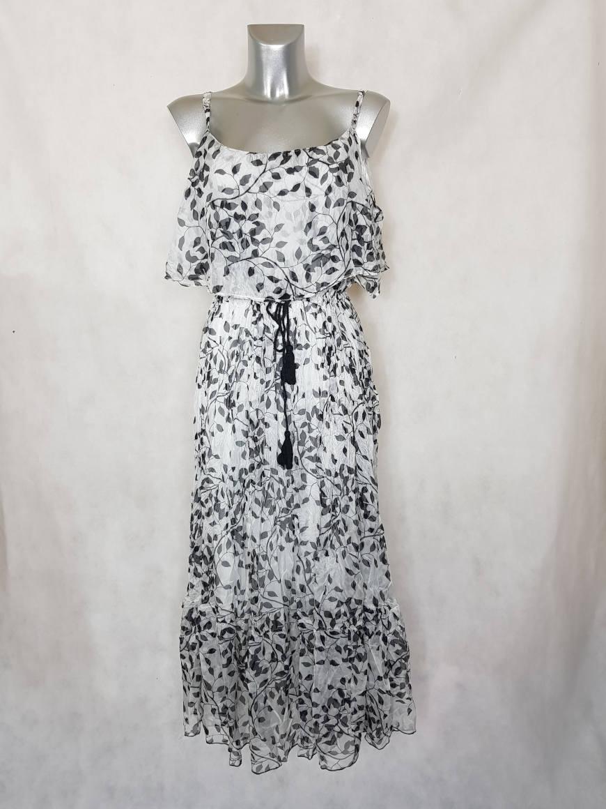 robe-femme-longue-voile-a-motif-noir-et-blanc1