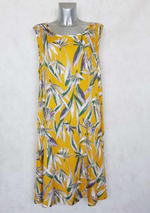 Robe femme ronde évasée jaune motif feuille manches à bretelles