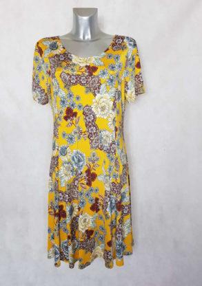 Robe femme ronde fluide évasée jaune floral col rond et manches courtes