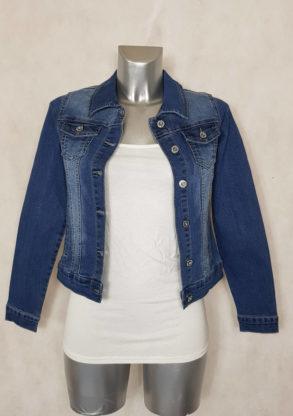 Veste femme courte ajustée en jeans bleu délavé manches longues