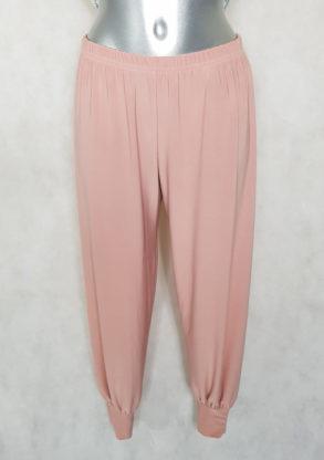 Pantalon bouffant femme grande taille à smocks vieux rose