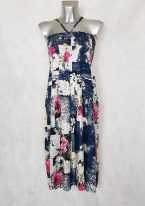 Robe bustier femme évasée motif bloc-floral ou jupe longue
