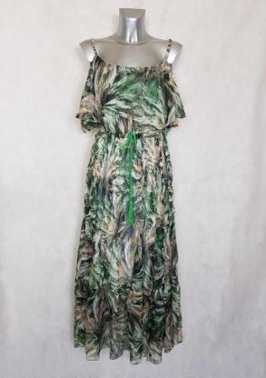 Robe femme longue en voile vert à motif abstrait manches à bretelles