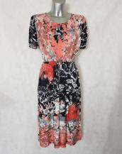 Robe femme ronde fluide évasée motif floral col rond à nœud et manches courtes,