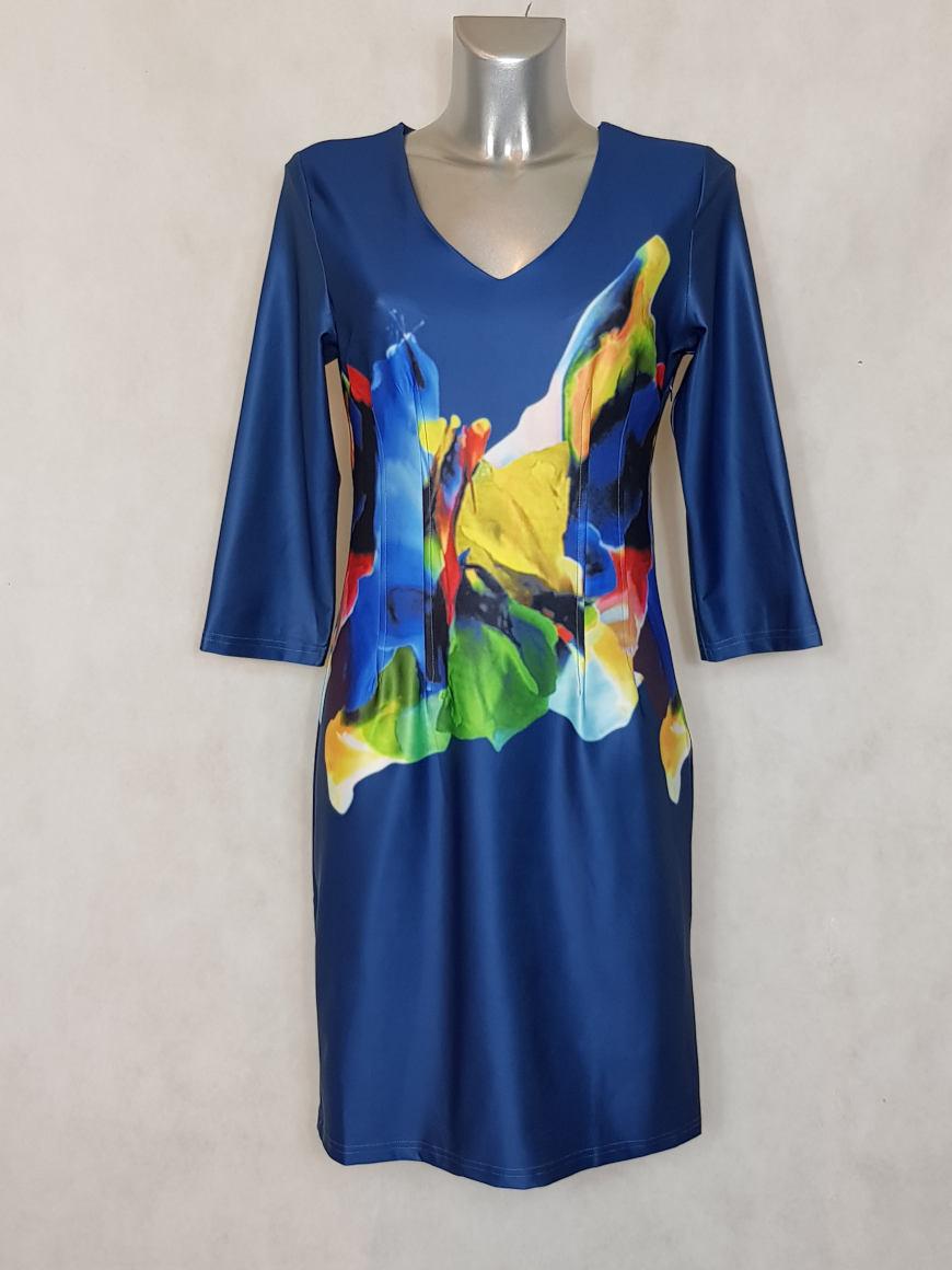 robe-femme-droite-bleu-a-motif-abstrait-et-col-v1