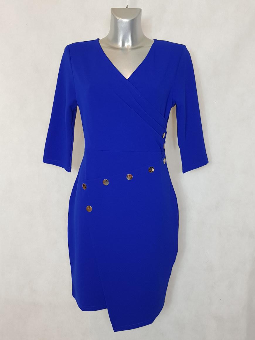 Robe Femme Droite Bleu Roi Asymétrique Et Col V Caprices De Madeleine
