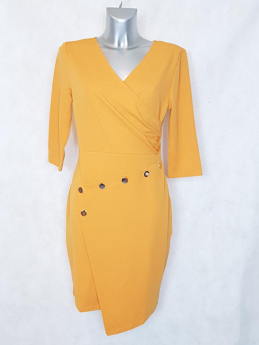 robe-femme-droite-moutarde-asymetrique-col-v2