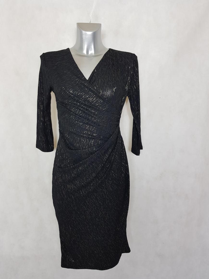 robe-femme-fluide-drapee-noir-pailletee-col-v1