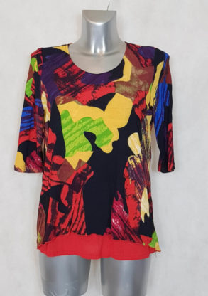 Tunique femme asymétrique motif art col rond et manches longues