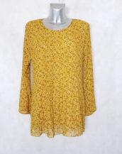 Tunique plissée évasée femme grande taille voile fleurie jaune et manches longues