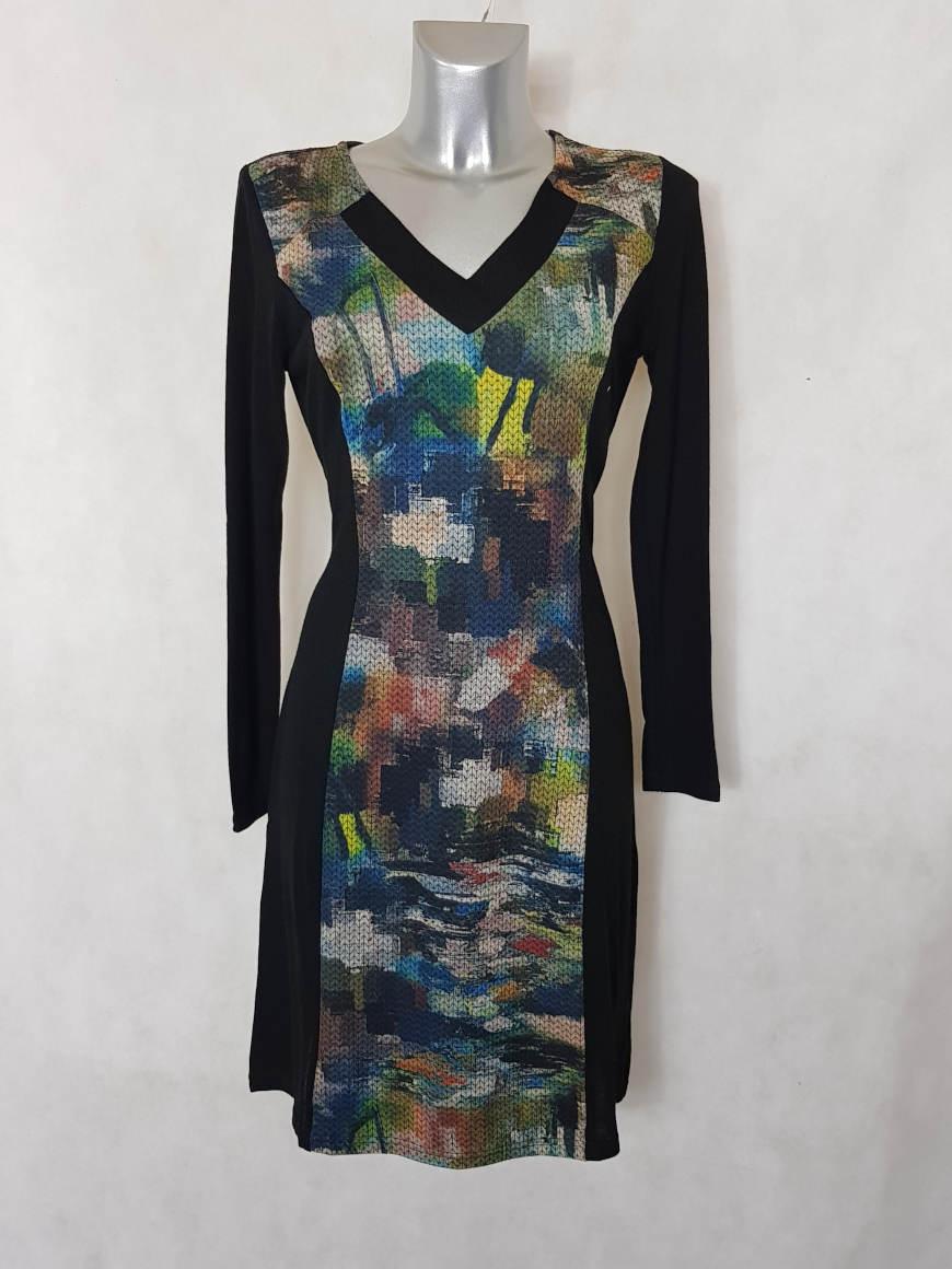 robe-femme-droite-motif-abstrait-et-bande-noir