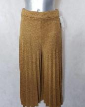 jupe-culotte femme moutarde large et plissée