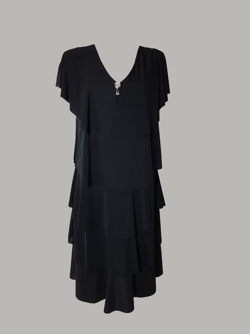 robe-femme-grande-taille-chic-noir-a-volants1