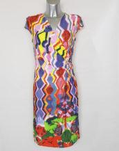 Robe droite femme portefeuille motif aztèque manches courtes et col cache-cœur.