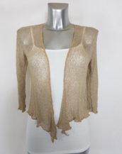 Gilet court boléro tricot femme manches courtes couleur beige
