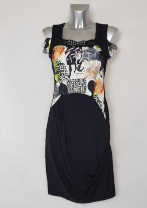 Robe femme droite à motifs asymétrique originale à motifs