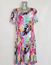 Robe évasée courte élégante femme grande taille motif tropical et manches courtes.