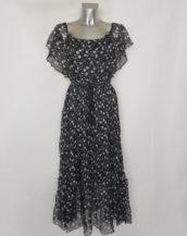 Robe longue chic femme grande taille en voile noir et blanc