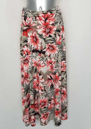 Jupe longue évasée floral femme élégante taille élastique