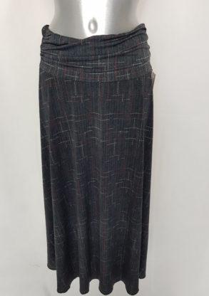 Jupe longue évasée femme taille élastique à motif