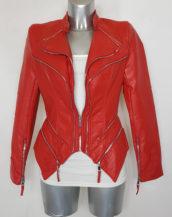 Blouson perfecto femme ajusté similicuir rouge