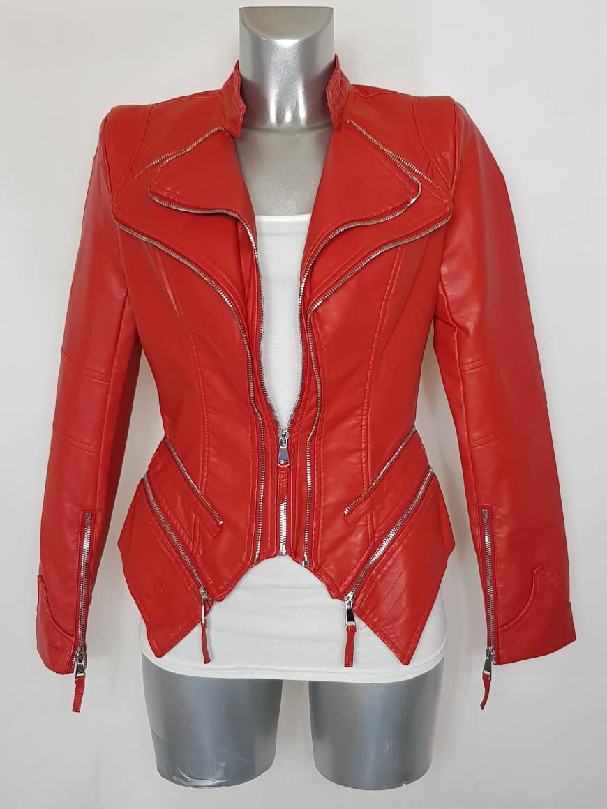 blouson-perfecto-femme-ajuste-similicuir-rouge1