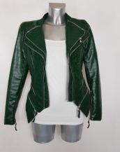 Veste perfecto femme courte cintrée similicuir vert