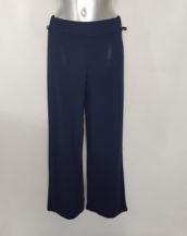 Pantalon large marine femme chic taille élastique