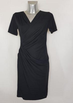 Robe noir droite cocktail portefeuille femme ronde