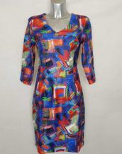 Robe femme droite coloré originale abstrait col V