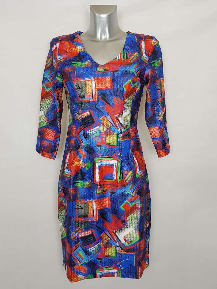 robe-femme-droite-colore-originale-motif-abstrait-col-v
