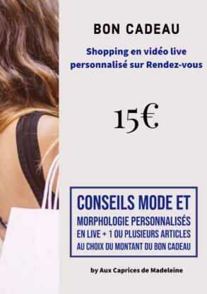 Bon cadeau shopping live personnalisé 15€