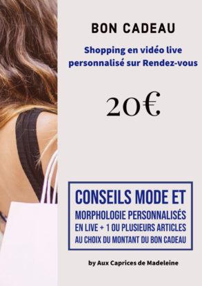 Bon cadeau shopping live personnalisé 20€